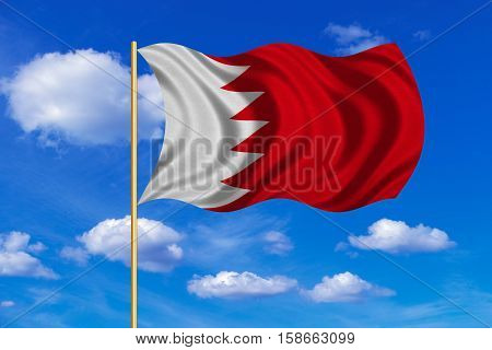Bahraini national official flag. Patriotic symbol banner element background. Correct colors. Flag of Bahrain on flagpole waving in the wind blue sky background. Fabric texture. 3D rendered illustration