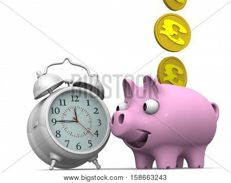 Time is money. Alarm clock and piggy bank with a coin of the British pound sterling on a white surface. Financial concept. 3D illustration. Isolated