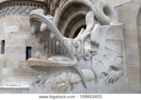 detail of dragon statue from Fisher Bastion, Budapest, Hungary