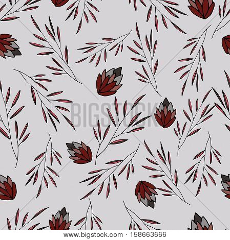 vector siamless pattern with flower and leaves
