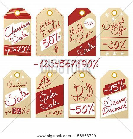Set of seasonal sale and discount price tags on kraft paper with realistic texture and handwritten inscriptions eps10 vector illustration