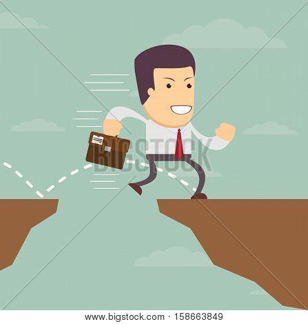businessman jump through the gap. Stock vector illustration