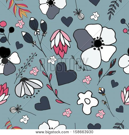 vector siamless pattern with flower, leaves and heart