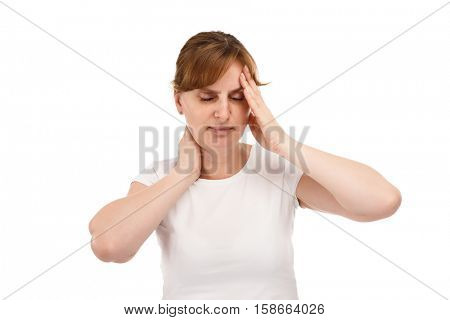 Woman massaging pain head isolated on white background