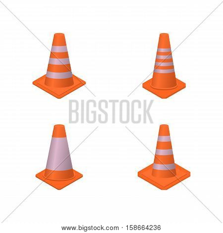 Set of different cone signs road repairs in an isometric style isolated on white background. Design elements for the reconstruction vector illustration.