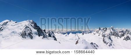 panoramic view of snowcapped mountain peaks at Chamonix Mont Blanc in France