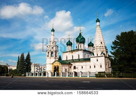 Church of Elijah the Prophet in Yaroslavl, Russia with cloudy blue sky. It is a famous landmark in the city located at the Soviet square