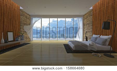 3d rendering image of bedroom White bed on leather base in the hole of the floor filled with black stone. Bamboo wall and brick wall