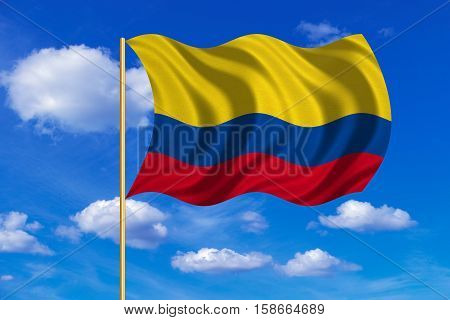 Colombian national official flag. Patriotic symbol banner element background. Correct colors. Flag of Colombia on flagpole waving in the wind blue sky background. Fabric texture. 3D rendered illustration