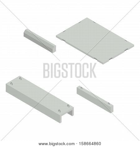 Set of iron concrete products isometric view isolated on white background. Design elements for the construction and reconstruction vector illustration.
