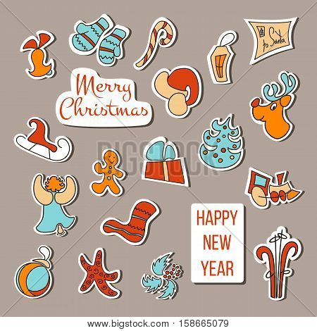 Cute Christmas stickers set. Christmas poster or decoration. Xmas icons with gift mittens deer bell toy gingerbread candy cane snowman snowflake greeting letter skates angel. Design element