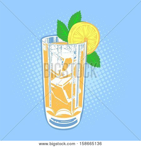 Drink with lime, mint and ice. Cool mint leaf refreshing summer ingredient lime drink. Vector fresh lime drink cold ice cocktail tropical fresh citrus water. Alcohol sweet slice food lemonade.