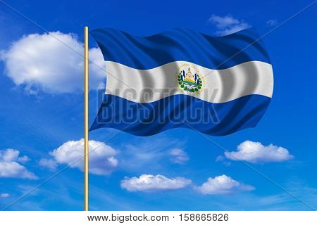 Salvadoran national official flag. Patriotic symbol banner element background. Correct colors. Flag of El Salvador on flagpole waving in the wind blue sky background. Fabric texture. 3D rendered illustration