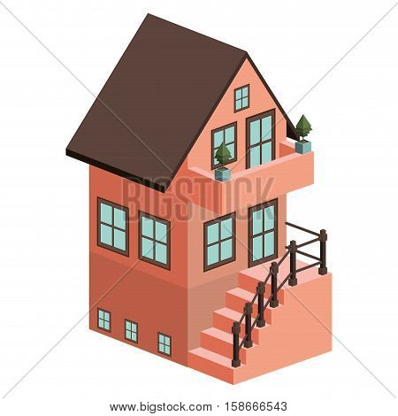 silhouette colorful house with two floors and external stair vector illustration