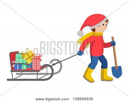 Little boy in winter clothes pulling a sled, cartoon style vector illustration isolated on white background. Little kid in big scarf and warm winter clothes with a toboggan and gifts