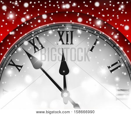New Year And Christmas Concept With Vintage Clock Red Style. Vector Illustration