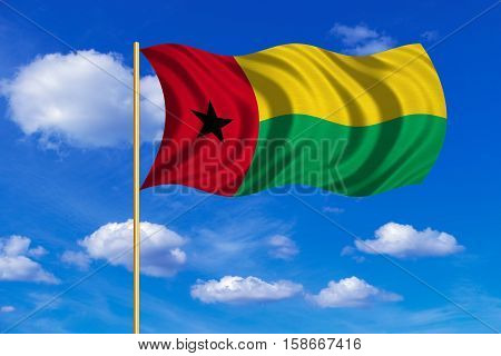 Bissau-Guinean national official flag. Patriotic symbol banner element background. Correct colors. Flag of Guinea-Bissau on flagpole waving in the wind blue sky background. Fabric texture. 3D rendered illustration