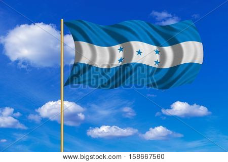 Honduran national official flag. Republic of Honduras patriotic symbol banner element background. Correct color. Flag of Honduras on flagpole waving in the wind blue sky background. Fabric texture. 3D rendered illustration