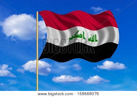 Iraqi national official flag. Irak patriotic symbol element background. Iraki banner. Correct colors. Flag of Iraq on flagpole waving in the wind blue sky background. Fabric texture. 3D rendered illustration