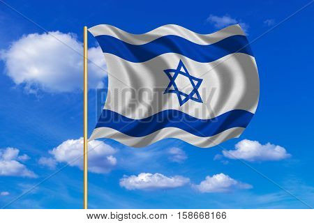 Israeli national official flag. Patriotic symbol banner element background. Correct colors. Flag of Israel on flagpole waving in the wind blue sky background. Fabric texture. 3D rendered illustration
