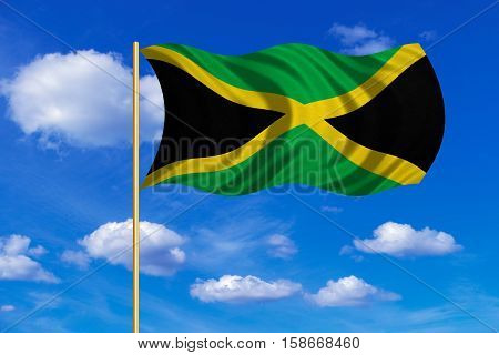 Jamaican national official flag. Patriotic symbol banner element background. Correct colors. Flag of Jamaica on flagpole waving in the wind blue sky background. Fabric texture. 3D rendered illustration