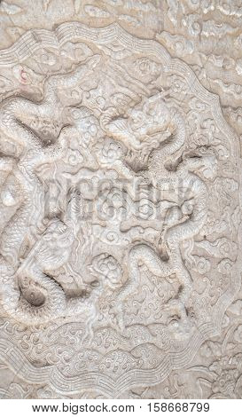 BEIJING - FEBRUARY 23: Dragon, Large stone carving in Forbidden City, Beijing, China, February 23, 2016.