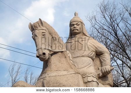 BADALING - FEBRUARY 24:  Stone statue of Ming Dynasty general Qi Jiguang, Shuiguan Great Wall, Badaling, Yanqing, China, February 24, 2016.