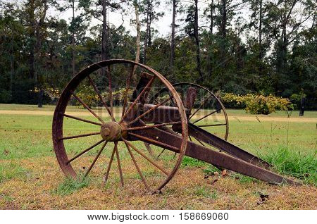 Antique steel wheel lumber wagon from the 1900s