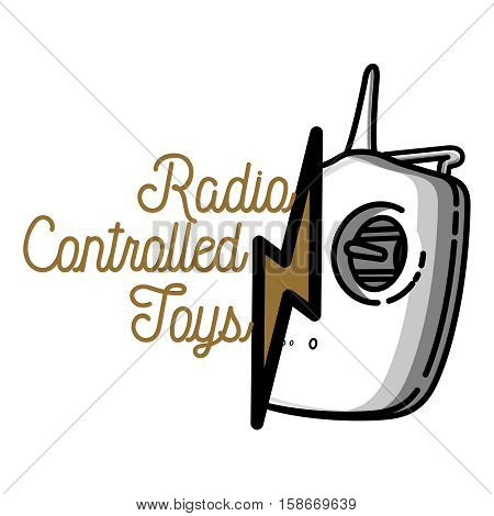 Color vintage radio controlled toys emblem. Design elements for emblems, icon, tee shirt , related emblems, labels