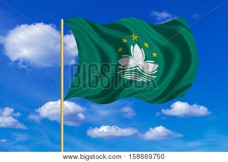 Macanese official flag. Patriotic chinese symbol banner background. Macau is special region of PRC. Correct colors. Flag of Macau on flagpole waving in the wind blue sky background. Fabric texture. 3D rendered illustration