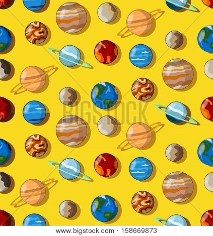 Solar system cosmo universe planets seamless vector pattern