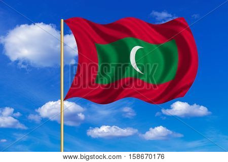 Maldivian national official flag. Patriotic symbol banner element background. Correct colors. Flag of Maldives on flagpole waving in the wind blue sky background. Fabric texture. 3D rendered illustration