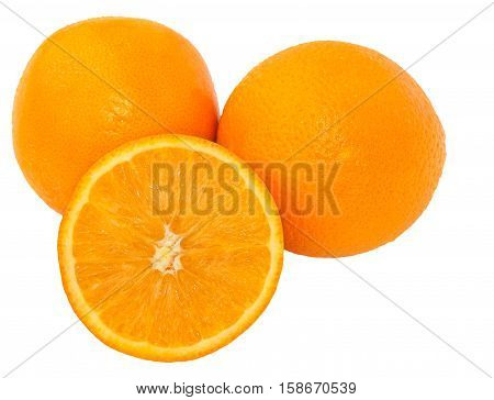 Oranges isolated on white background. Ripe oranges and orange slice. Fresh oranges.