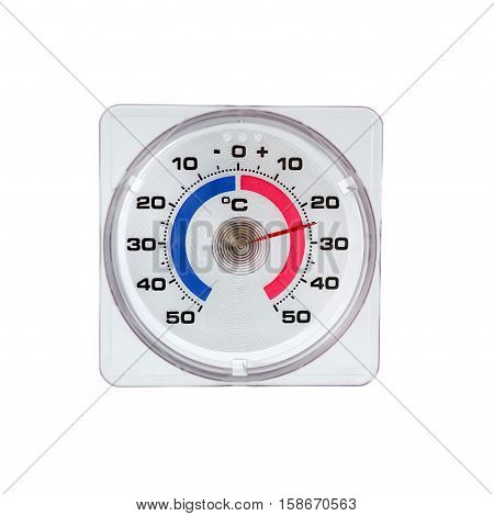 Outdoor thermometer isolated on white background. temperature