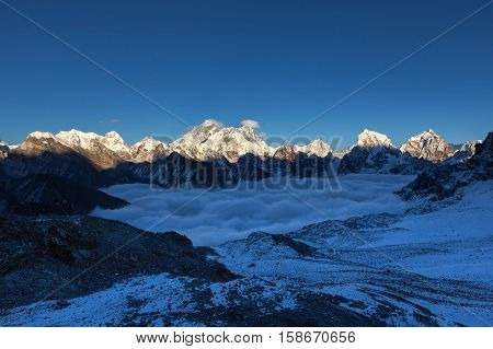 Everest Panoramic View From Renjo La Pass. Himalayas Mountain Valley Covered With Curly Clouds. Dram
