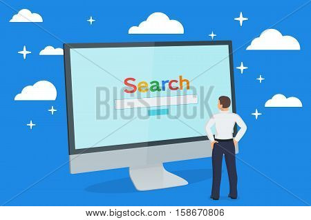 Simple browser window. Computer monitor. Search engine on the screen. A man looks at a monitor. Browser search. Flat vector stock illustration.