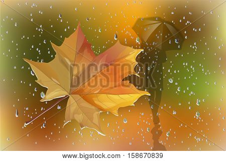 Vector image of raindrops on the glass and the human figure under an umbrella.