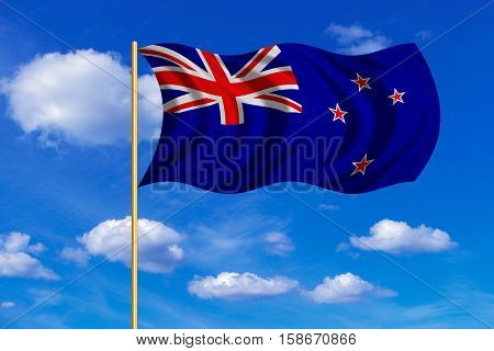 New Zealand national official flag. Patriotic symbol banner element background. Correct colors. Flag of New Zealand on flagpole waving in the wind blue sky background. Fabric texture. 3D rendered illustration