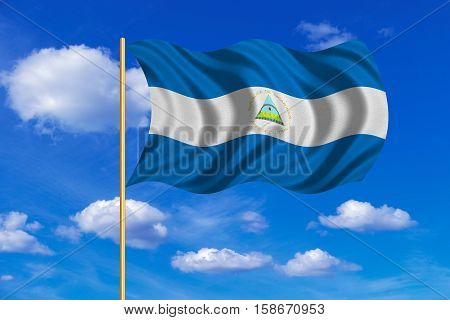 Nicaraguan national official flag. Patriotic symbol banner element background. Correct colors. Flag of Nicaragua on flagpole waving in the wind blue sky background. Fabric texture. 3D rendered illustration