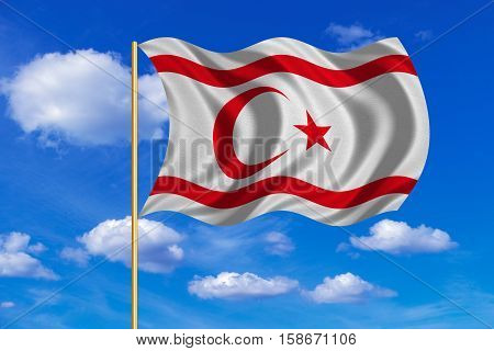 Northern Cyprus national official flag. TRNC patriotic symbol banner. Correct colors. Flag of Turkish Republic of Northern Cyprus on flagpole waving in the wind blue sky background. Fabric texture. 3D rendered illustration