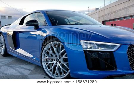 LONDON, UK, SEP 11, 2015: Audi R8 V10 Sports car seen parked image taken in the street