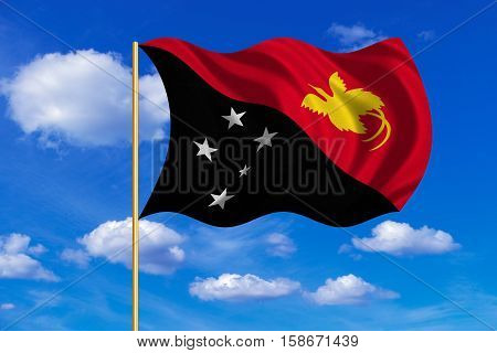Papua New Guinean national official flag. Papuan patriotic symbol banner element background. Correct colors. Flag of Papua New Guinea on flagpole waving in wind blue sky background. Fabric texture. 3D rendered illustration