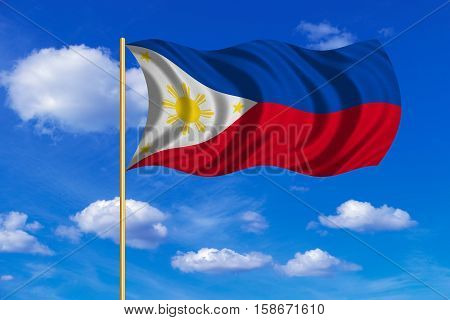 Philippine national official flag. Patriotic symbol banner element background. Correct colors. Flag of the Philippines on flagpole waving in the wind blue sky background. Fabric texture. 3D rendered illustration