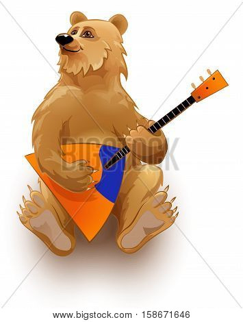 Vector image of a bear playing the balalaika