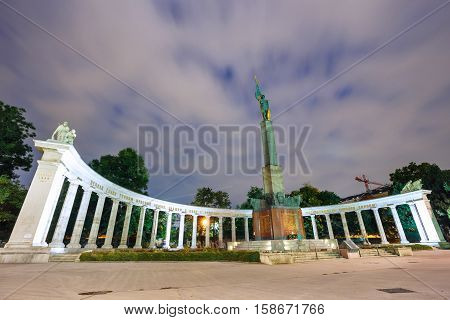 Vienna, Austria, October 13, 2016:night View Of  War Memorial -  Heroes Monument Of Red Army On Schw