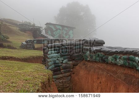 Trenches And Underground Bunkers, Blindage For Military Training In Northern Thailand.