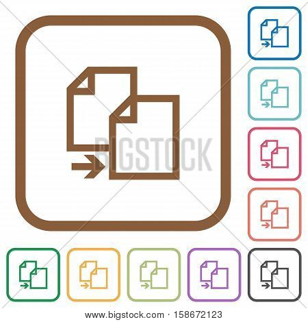 Copy item simple icons in color rounded square frames on white background