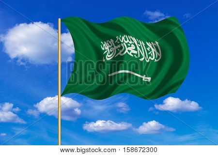 Saudi Arabian national official flag. Patriotic symbol banner element background. Correct colors. Flag of Saudi Arabia on flagpole waving in the wind blue sky background. Fabric texture. 3D rendered illustration