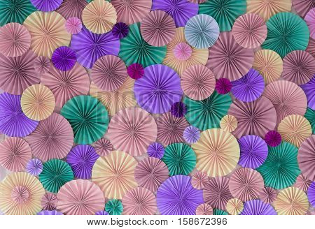 Pastel Romantic Background Wall With Multicolored Paper Circles
