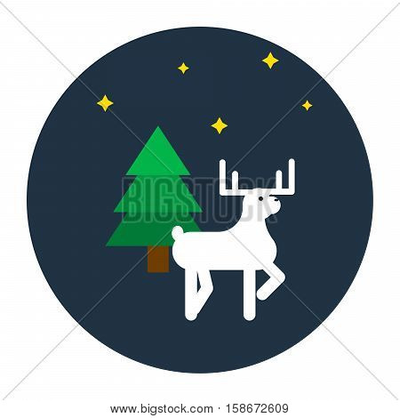 Deer flat style vector illustration icon. Forest animal with horns, green pine and stars on blue circle.